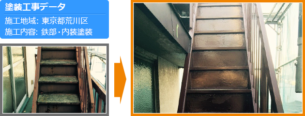 荒川区アパートの鉄部・内装塗装工事の施工事例
