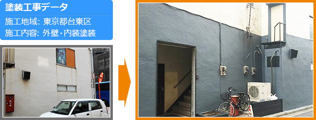 台東区事務所の外壁塗装工事の施工事例