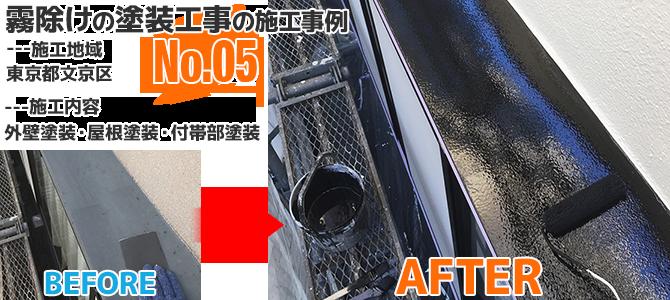 文京区戸建住宅の霧除け塗装の施工事例