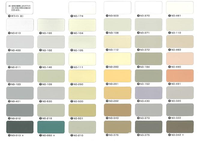 パーフェクトトップの標準色の色見本表