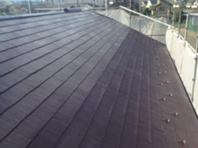 屋根塗装の施工前のようすです。