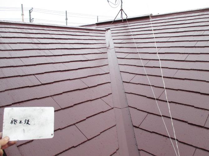 別アングルからの屋根の塗装後です。