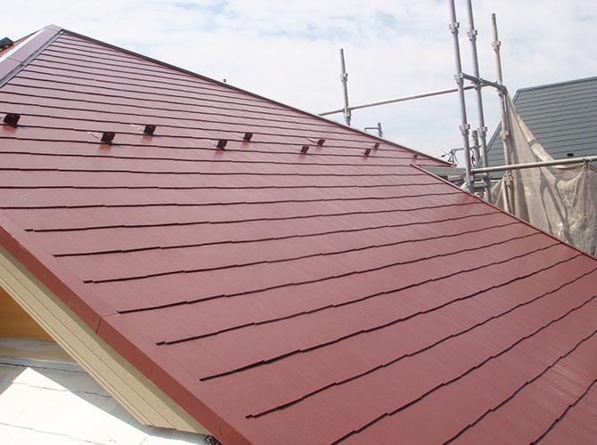 屋根塗装の上塗りの施工完了です。
