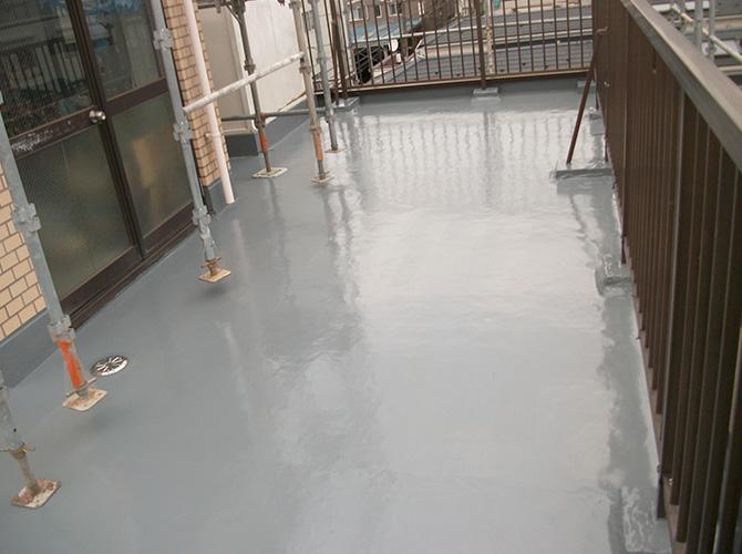 屋上の防水工事の施工完了後のようすです。