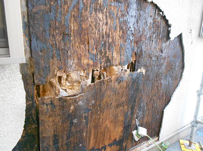 外壁材の内側の劣化状態です。