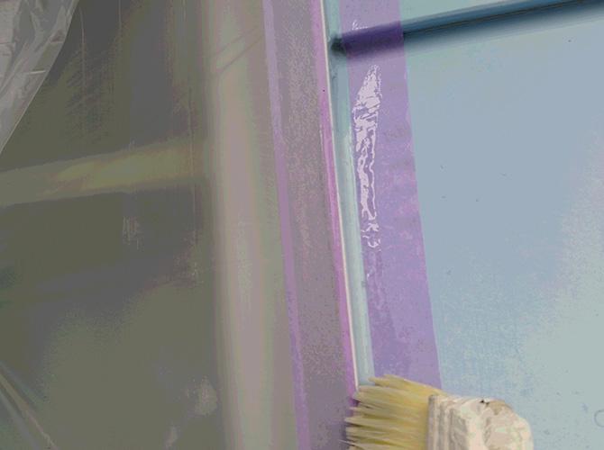 コーキング補修のプライマー塗布