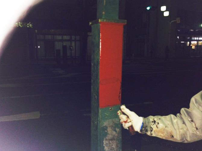 街路灯のサビ止め塗装