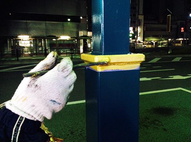 街路灯のポイント塗装