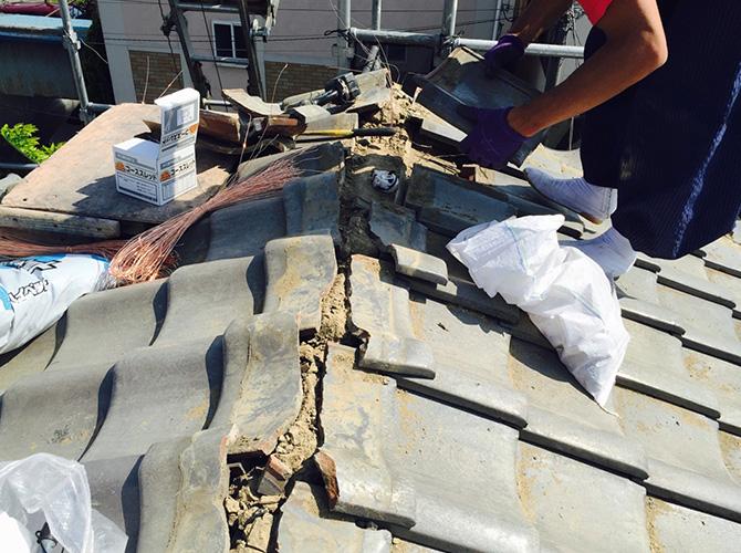 瓦屋根の棟の取り直し