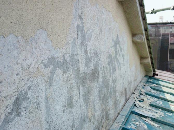 外壁の劣化部分の塗膜剥離