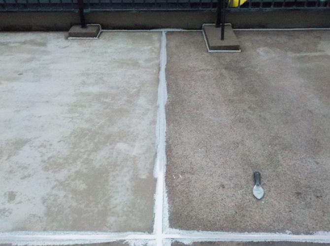 屋上床の下地調整の完了後です。