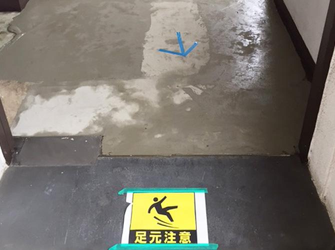 共用部の工事の際には注意書きを設置します。