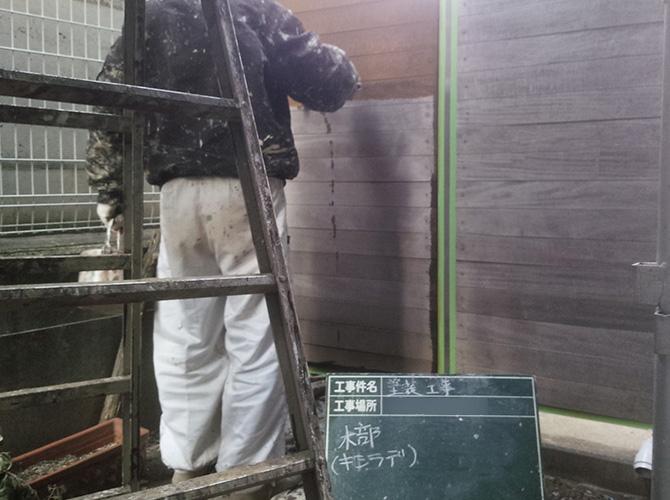 木部塗装はキシラデを使っての施工です。。