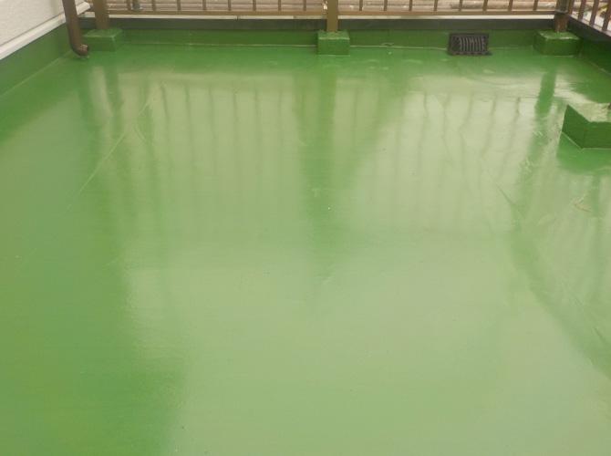 防水工事の施工完了後のようすです。