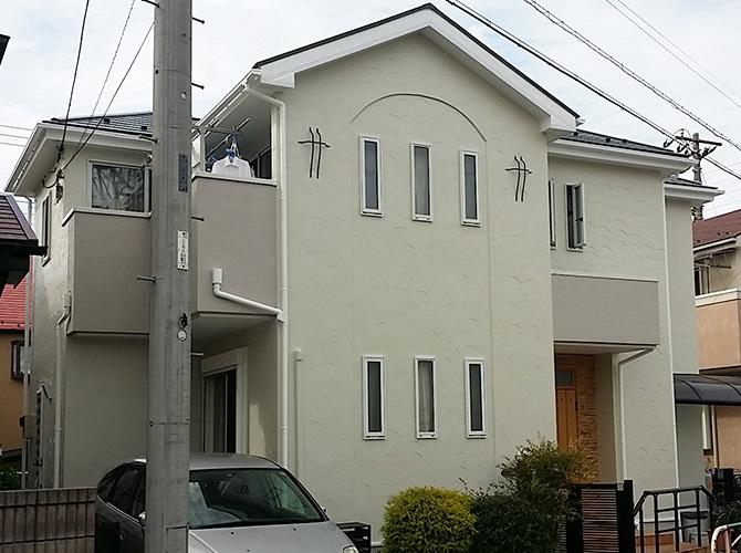 外壁塗装工事の施工完了後のようすです。
