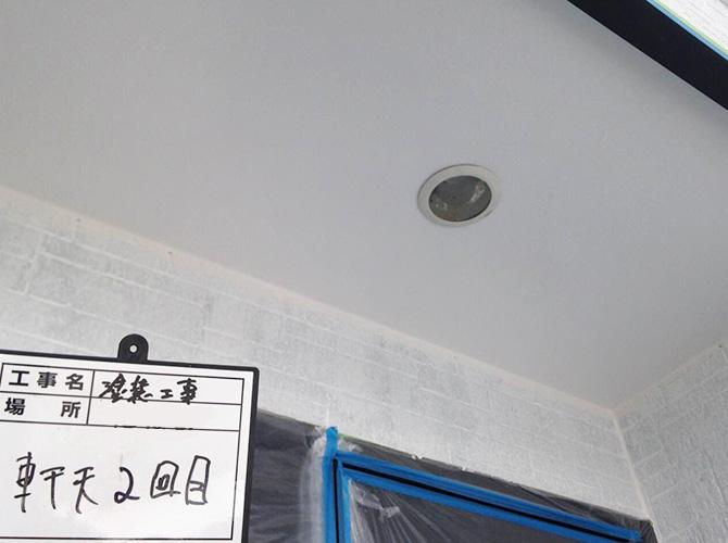 軒天塗装の完了後のようすです。