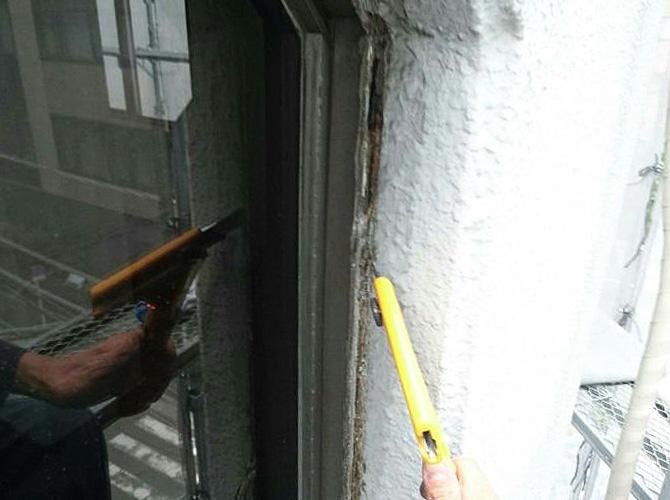 シールの打ち替えで雨漏りを防止します。