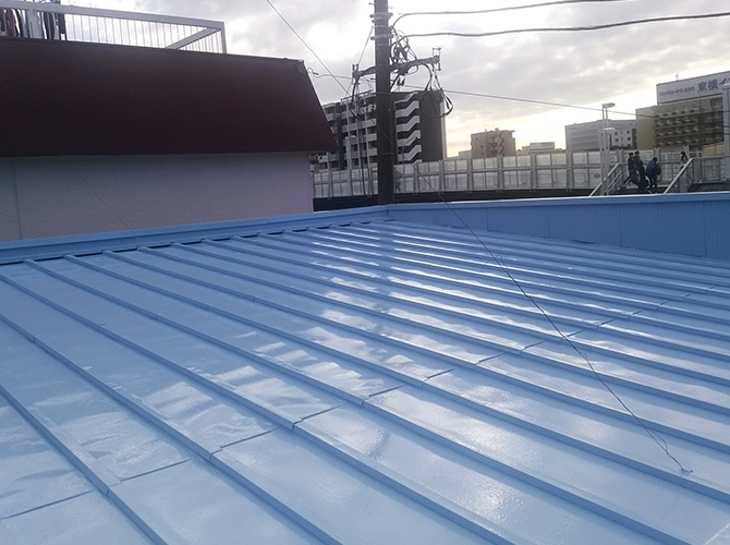 神奈川県横浜市店舗兼住宅の屋根塗装工事の施工後
