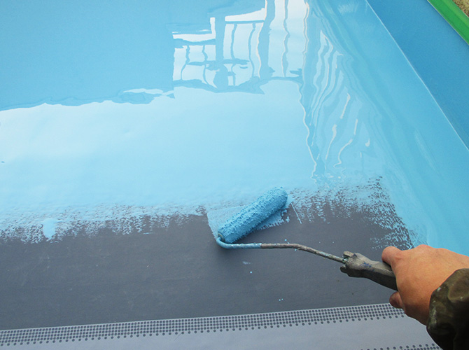 床部分の防水材の塗布