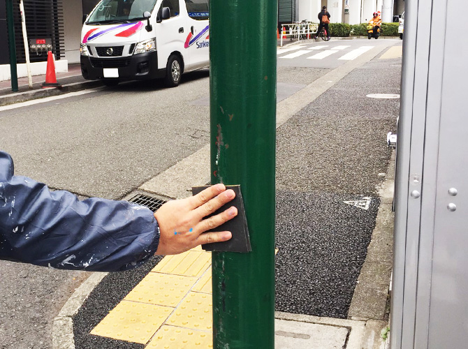 街路灯のケレン清掃