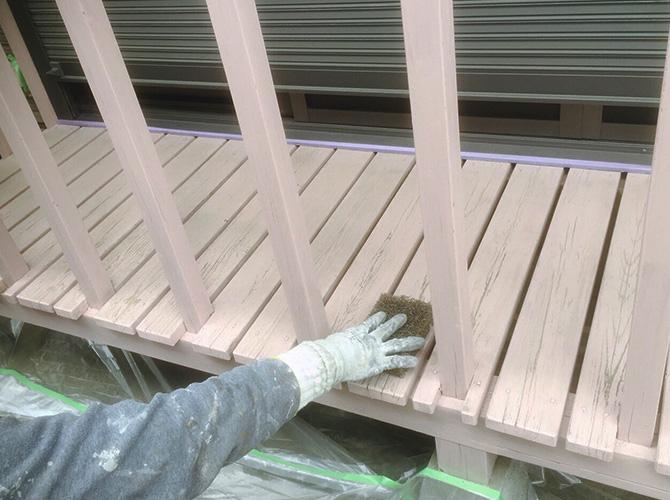 東京都目黒区戸建住宅のウッドデッキ塗装工事の施工前