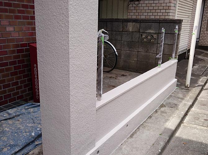 東京都足立区戸建住宅の塀の塗装工事の施工後