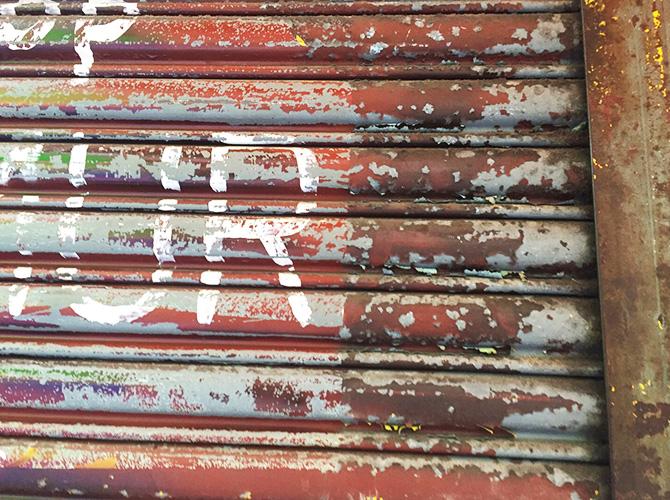 東京都台東区ビル鉄部のサビ止め塗装工事の施工前