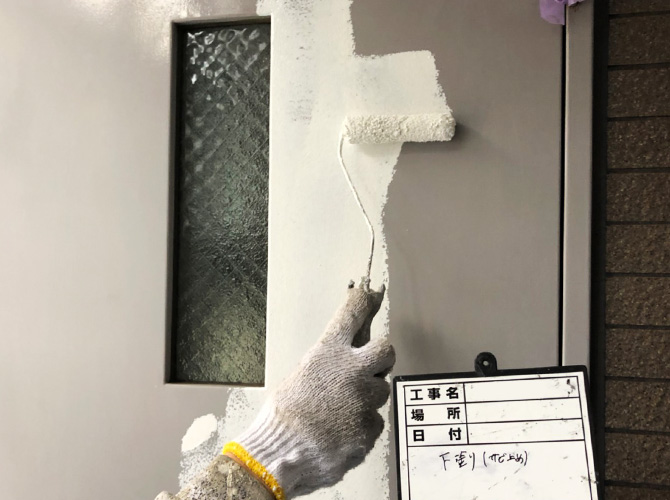 ドア塗装の下塗り