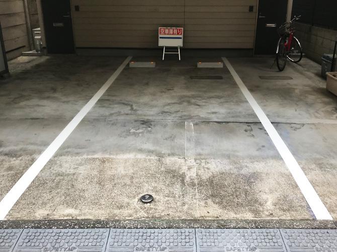 東京都新宿区住宅一階部分の駐車場ライン塗装工事の施工後