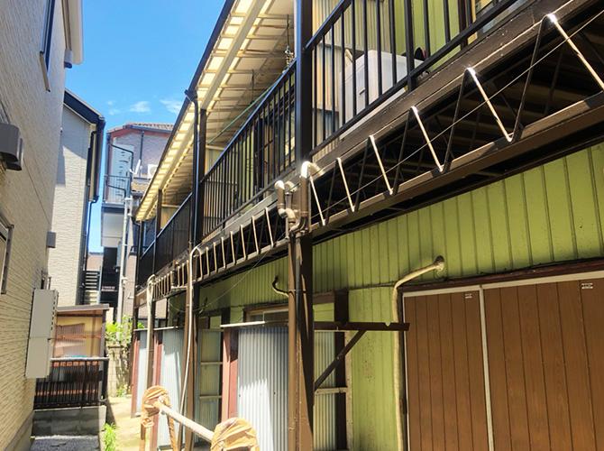 東京都江戸川区アパート鉄骨階段のサビ止め塗装工事の施工後