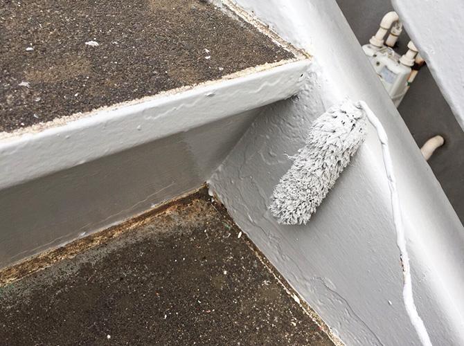 千葉県佐倉市アパート鉄骨階段のサビ止め塗装工事の施工後