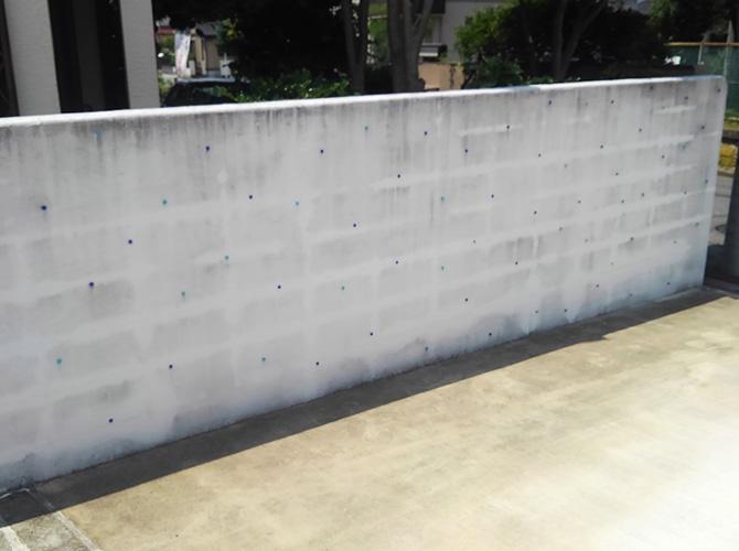 千葉県柏市住宅の擁壁(ブロック塀)塗装工事の施工前