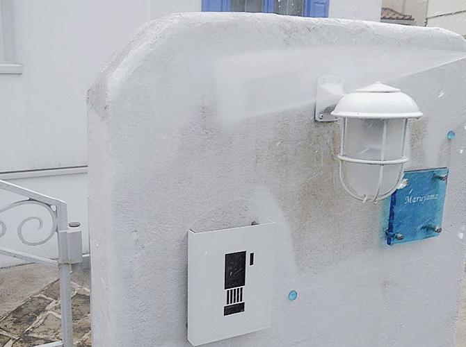 擁壁の高圧洗浄