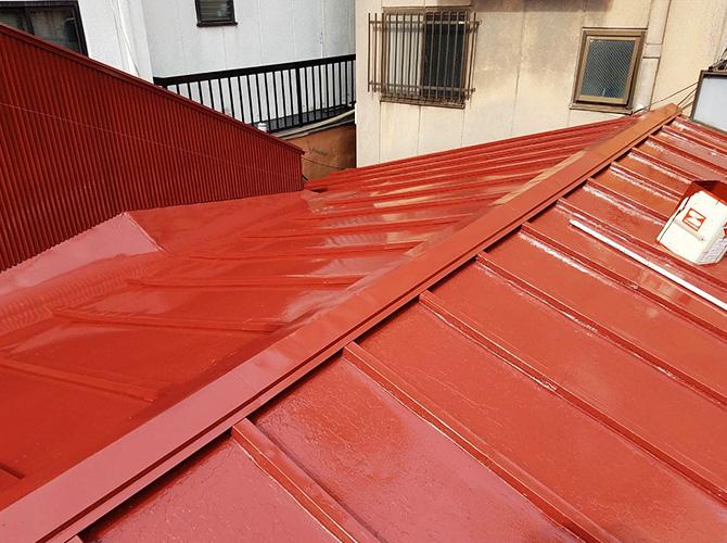 東京都台東区店舗トタン屋根の塗装工事の施工後