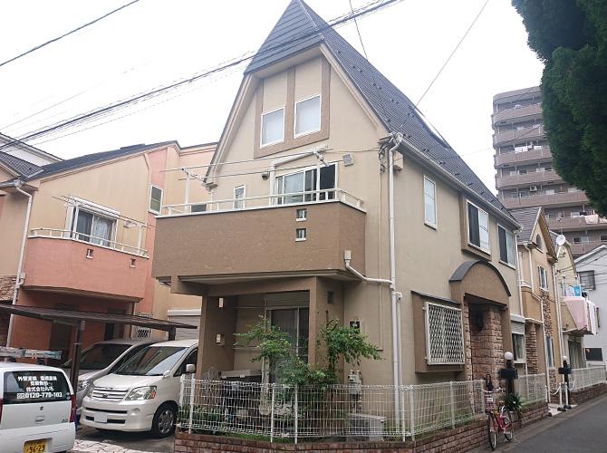 東京都足立区梅島2階建住宅の外壁塗装・屋根カバー工法の施工前