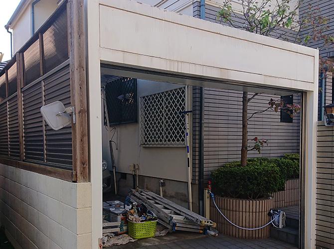 東京都練馬区住宅のシャッターBOXサビ止め塗装工事の施工前