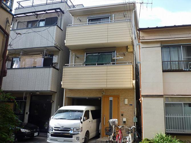 東京都墨田区3階建住宅の外壁塗装・屋根塗装工事の施工前