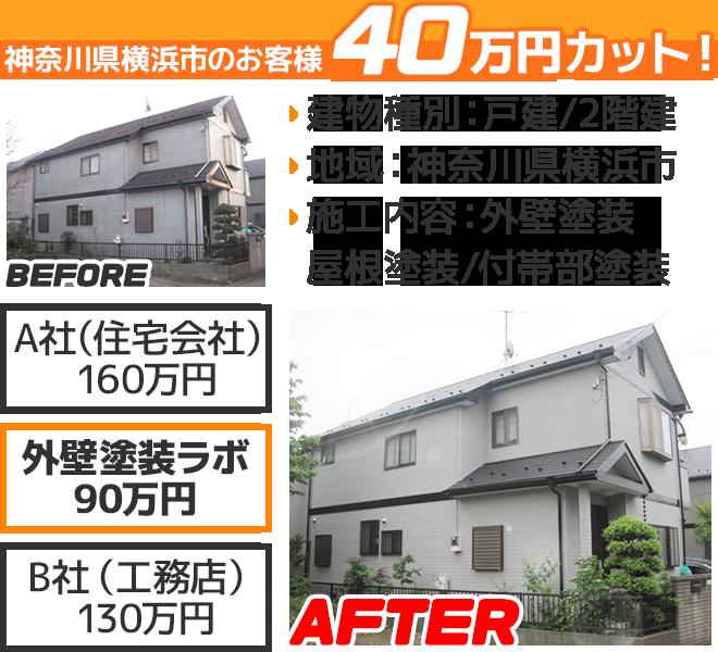 神奈川県横浜市の外壁塗装ラボの相見積もり価格の比較