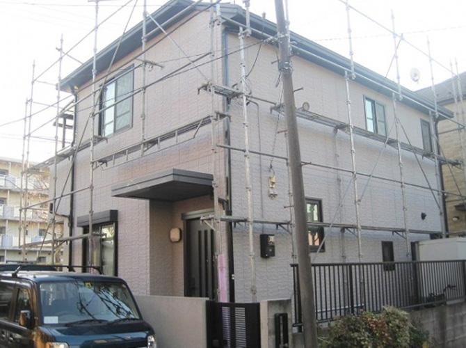 東京都八王子市で外壁塗装にアクリル系塗料を使用した事例の施工後