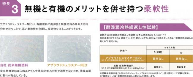 アプラウドシェラスターNEOは、無機と有機のメリットを併せ持つ柔軟性の高い塗料