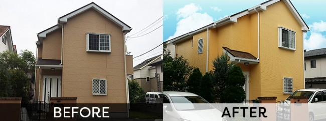 イエロー系の配色で仕上げた外壁塗装工事の施工事例
