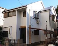 東京都足立区モルタル外壁2階建住宅の外壁塗装・屋根塗装工事の施工事例