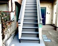東京都江戸川区住宅の鉄骨階段塗装・長尺シート工事の施工事例(20210204)