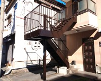 東京都墨田区戸建住宅の鉄骨階段塗装工事の施工事例(20210211)